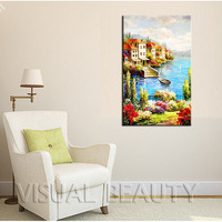 FREE SHIPPING Beautiful House Painting Ocean Canvas Art For Christmas Unframed 50x80cm