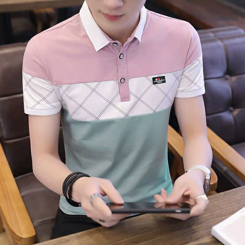 Polo Shirt Men 2019 New Fashion Cotton Brand Tops High Quality Argyle Casual Mens Polo Shirts Turn Down Collar Slim Fit Top Polo