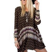 2016 Bayanlar Vintage Retro Bohem Stili Boho Yaz Plaj Uzun Kollu Mini Elbise H78 LL2