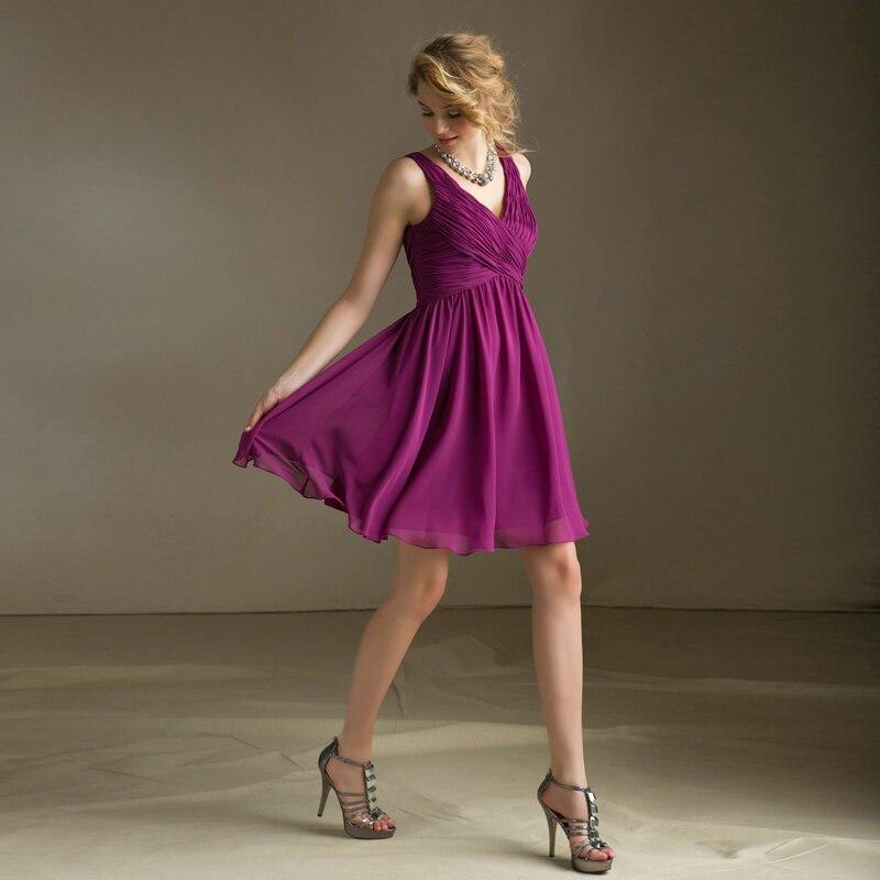 Noble y elegante púrpura hasta la rodilla vestidos Sexy profundo ...