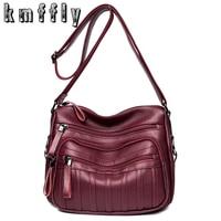KMFFLY Fashion Women Leather Bag Luxury Handbags Women Messenger Bags Designer Sac A Main Day Clutches