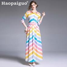 French Style Print Striped Maxi Dress Women Long Sleeve Big Swing Loose Neon Dress Women Summer Long Dress Plus Size M-XXL Robe long sleeve elk print christmas mini swing dress