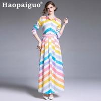 French Style Print Striped Maxi Dress Women Long Sleeve Big Swing Loose Neon Dress Women Summer Long Dress Plus Size M XXL Robe