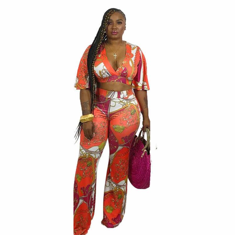 2019 nuevas mujeres cadena Vintage estampado cuello en V llamarada media manga Crop Top pantalones de pierna ancha conjunto de 2 piezas chándal traje YM-8347