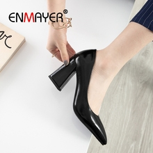 купить ENMAYER 2019 New Arrival  Patent Leather  Basic  Super High  Woman Shoes  Pointed Toe Office & Career  Slip-On Size 34-43 LY2110 дешево
