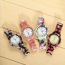 6-colores Envío Libre 2017 Nueva Venta Caliente de la Aleación de la flor señoras del reloj de pulsera relojes de Ginebra del Reloj para las mujeres de moda W147