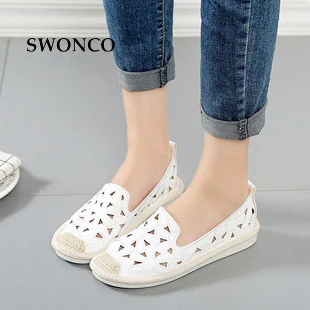 SWONCO Women's Flats Shoe Embroidery Fisherman Female Shoe 2018 Spring Summer Women Shoes Cut Out Hollow Out Casual Shoes 5