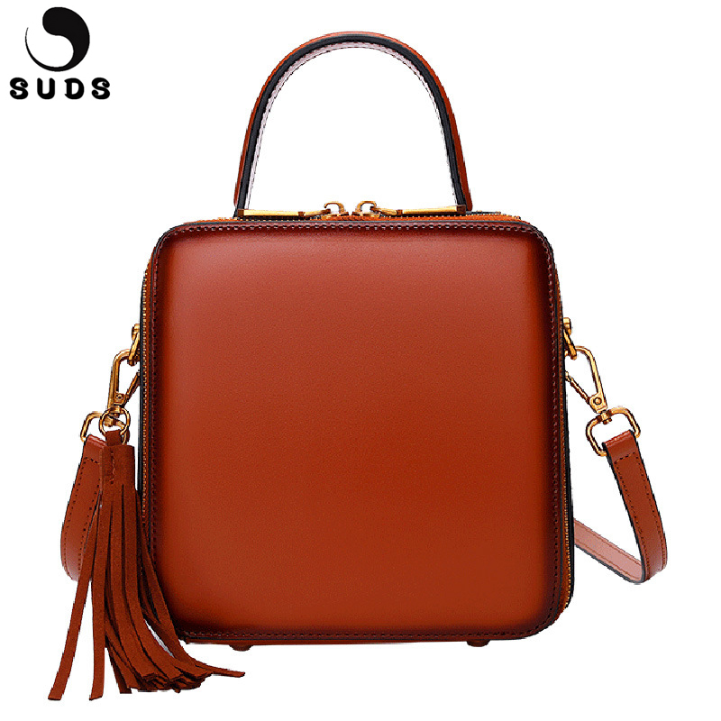 SUDS Brand Genuine Leather Luxury Handbags Women Bag Designer Vintage Rivet Shoulder Flap Bag Cow Leather Female Crossbody Bags suds brand genuine leather 2018 fashion women small shoulder bag high quality cow leather women messenger bag crossbody flap bag