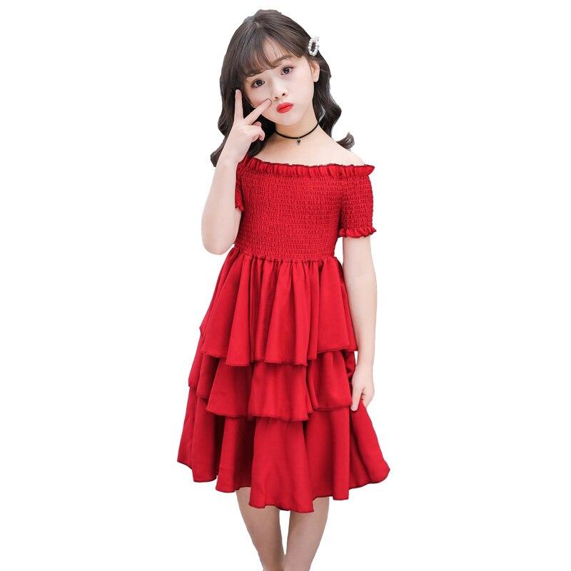 girls summer dress red cake tiered chiffon kids party dresses for girls birthday short sleeve 4 6 8 10 12 Y children clothesDresses   -
