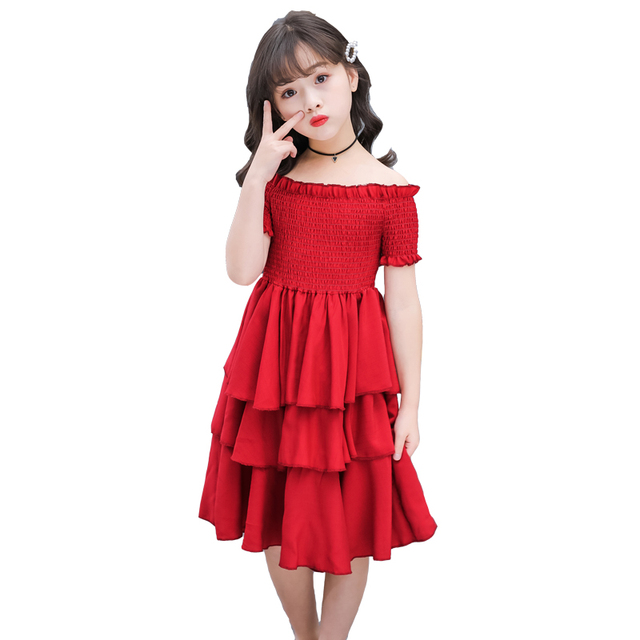 girls summer dress red cake tiered chiffon kids party dresses for girls birthday short sleeve 4 6 8 10 12 Y children clothes