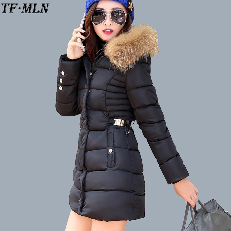 TFMLN 30 Degrees 2017 New Long Parkas Female Women Winter Coat Thickening Cotton Warm Jacket Womens