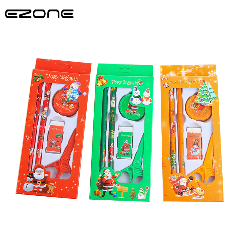 EZONE Novelty Korean Merry Christmas Stationery Pencils Ruler Eraser Cute Santa Claus Student Gifts Kids School Office Supply