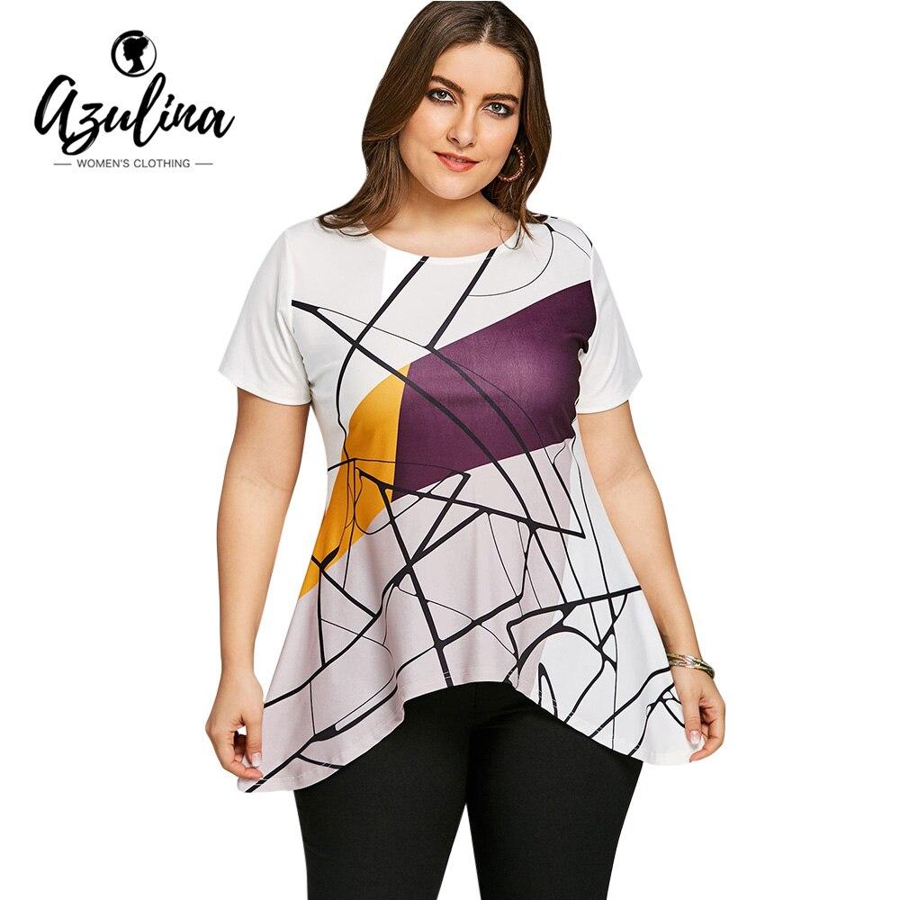 398388a09e268 AZULINA Plus Size Line Graphic Asymmetric T Shirt Women Tops Scoop Neck  Short Sleeve Geometric Print Long T Shirt Big Size Top-in T-Shirts from  Women s ...