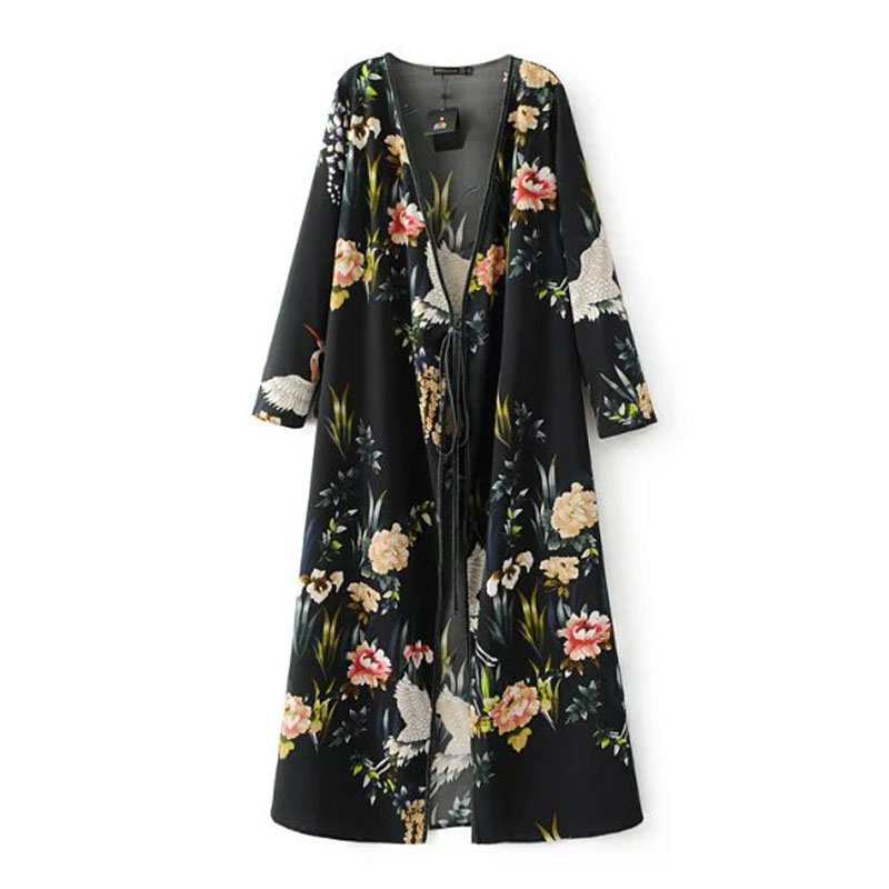 Classic Fashion Spring Women Black Floral Crane Print