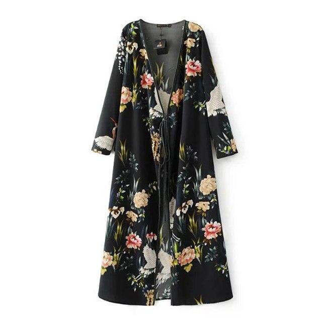 2951fba3ed8e Classic Fashion Spring Women Black Floral Crane Print Dress Plunging  Neckline Kimono Style Half Sleeve Chiffon Long Dress 2017