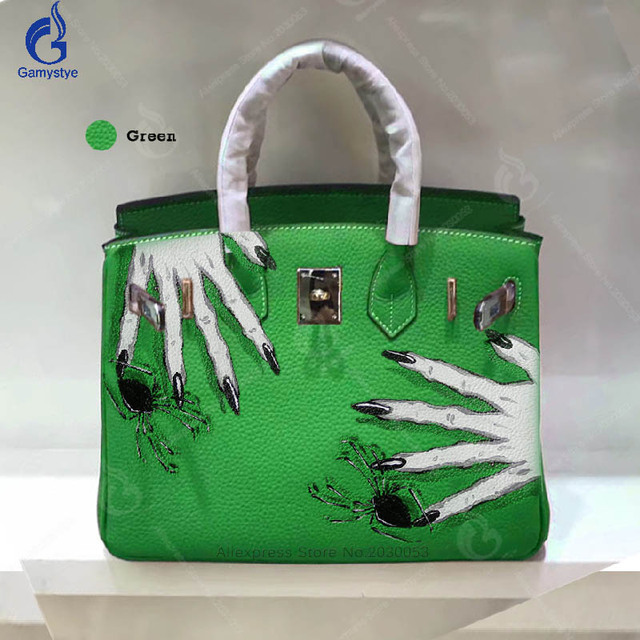 Gamystye DIY Graffiti Skull Hand handbag Vintage Togo Anti Theft Bag Green High Quality Genuine Leather Women Top-handle bag Y