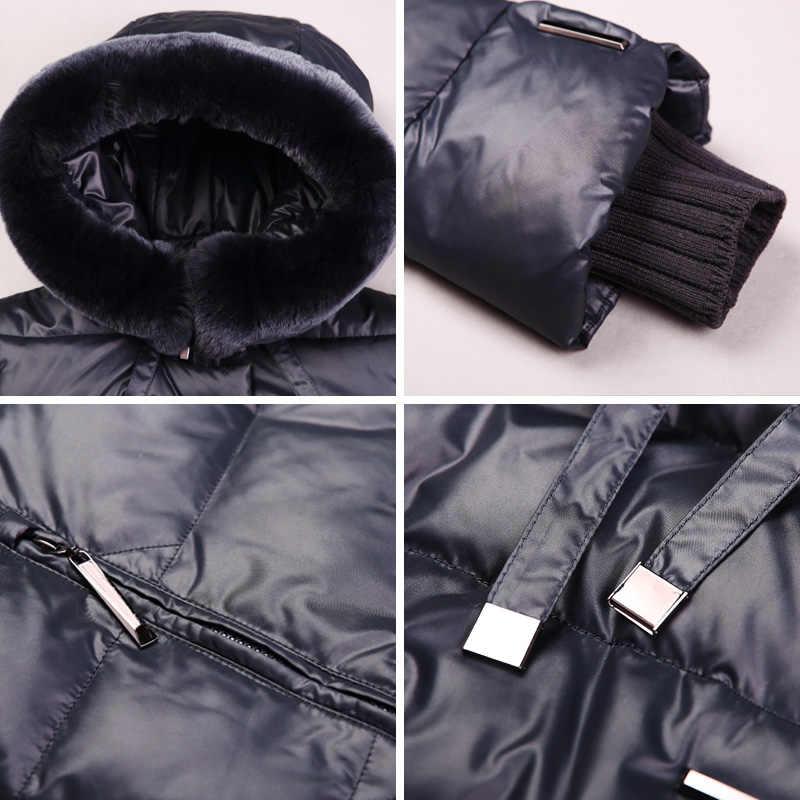 Chaqueta de abrigo de mujer miegfce 2019 de longitud media Parka de mujer con un abrigo grueso de invierno de piel de conejo para mujer nueva colección de invierno caliente