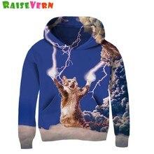 84840db78d8 Забавный Кот молния Thunder 3D детская толстовка с капюшоном космические  коты животный принт толстовки для мальчиков