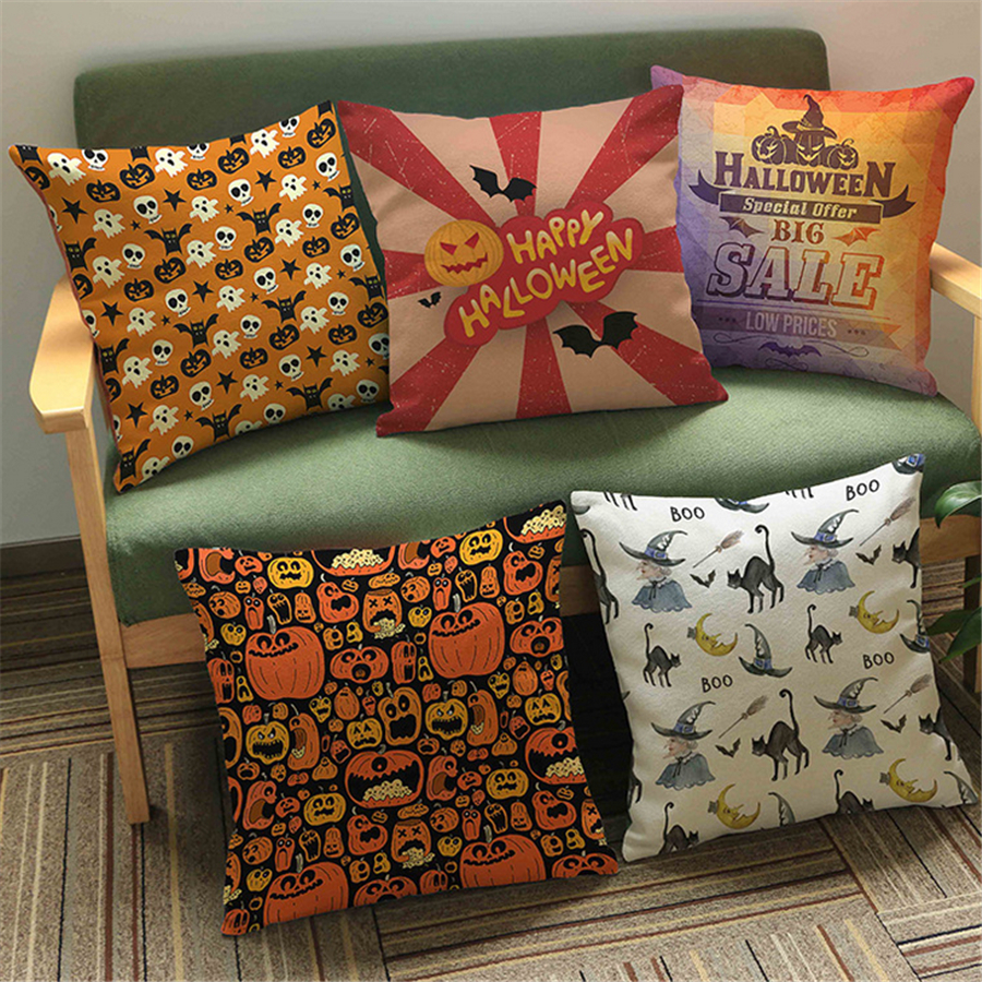 Europe Retro Halloween Festival Sofa Throw Pillow Case Office Chair Cushion  Cover Vintage Home Decor Cotton Linen Velvet E With Vintage Chair Cushions.