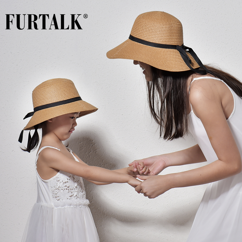 FURTALK Summer Hat For Women Kids Straw Hat For Beach Baby Girls Sun Hat Travel Bucket Cap Chapeu Feminino For Summer