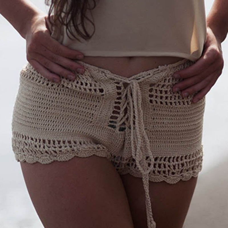 11 Color Hand crochet sexy bikini shorts bottom boho Womens pants Beach High waist shorts in Two Piece Separates from Sports Entertainment