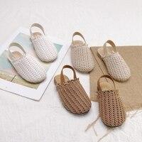 Snoffy Summer Kids Sandals Girls Beach Shoes Woven Toddler Baby Leather Sandals Girl Flat Slipper Sandale Filles Enfant TX449