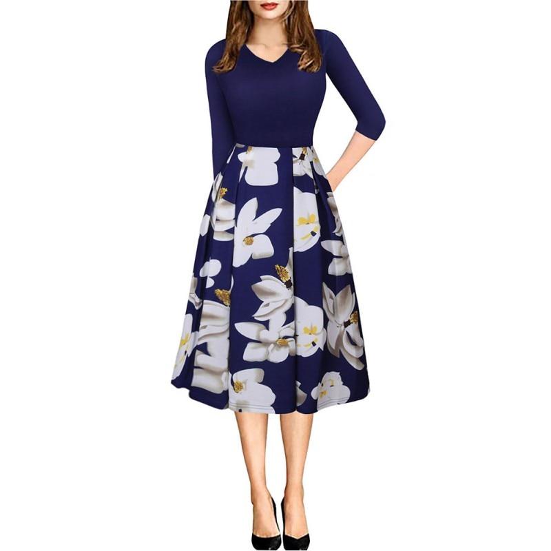 2018 Autumn Women Vintage V Neck Half Sleeve Floral Print A-line Dress Pockets Casual Dresses Vestido