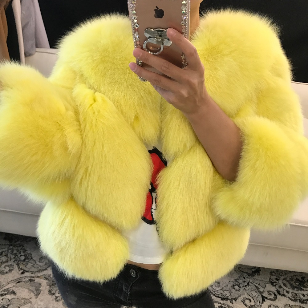 women real fur jacket lady natural fox fur jacket fur winter outwear
