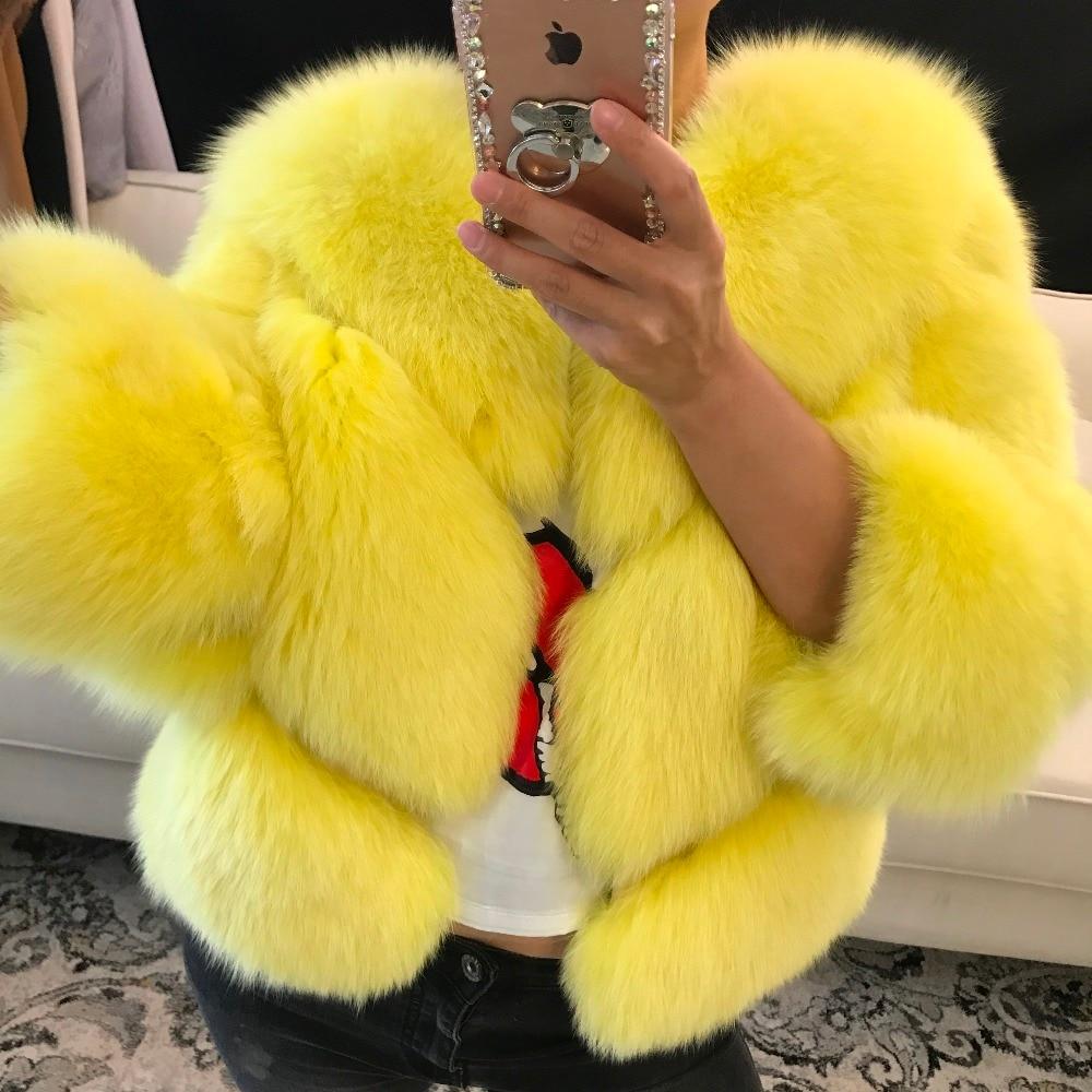 Vraie Fourrure Outwear Picture as Picture Naturel as As Femmes Dame Picture Sleeve Fox D'hiver Veste add Length De 5dBd84qS
