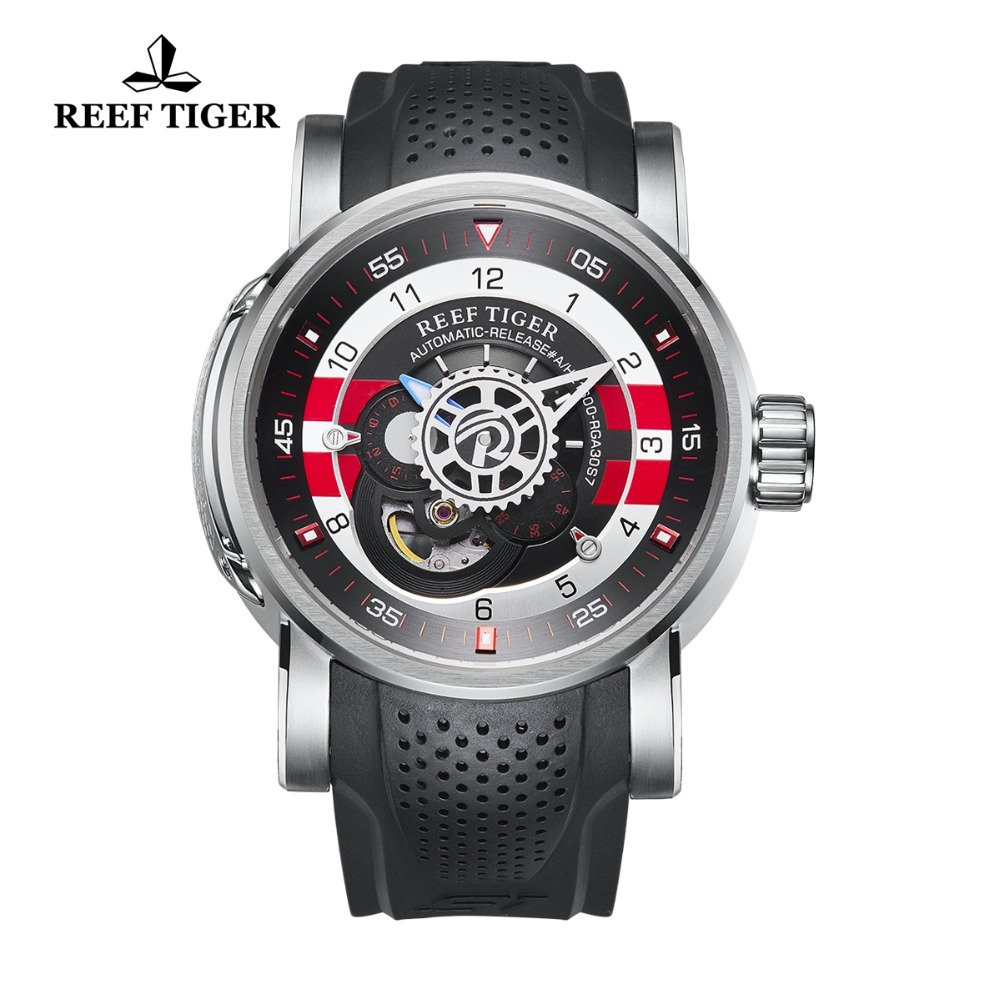 2018 New Design Reef Tiger/RT Luxury Mens Sport Watch Waterproof 100 M Mechanical Watches Rubber Strap Steel Watch RGA30S7