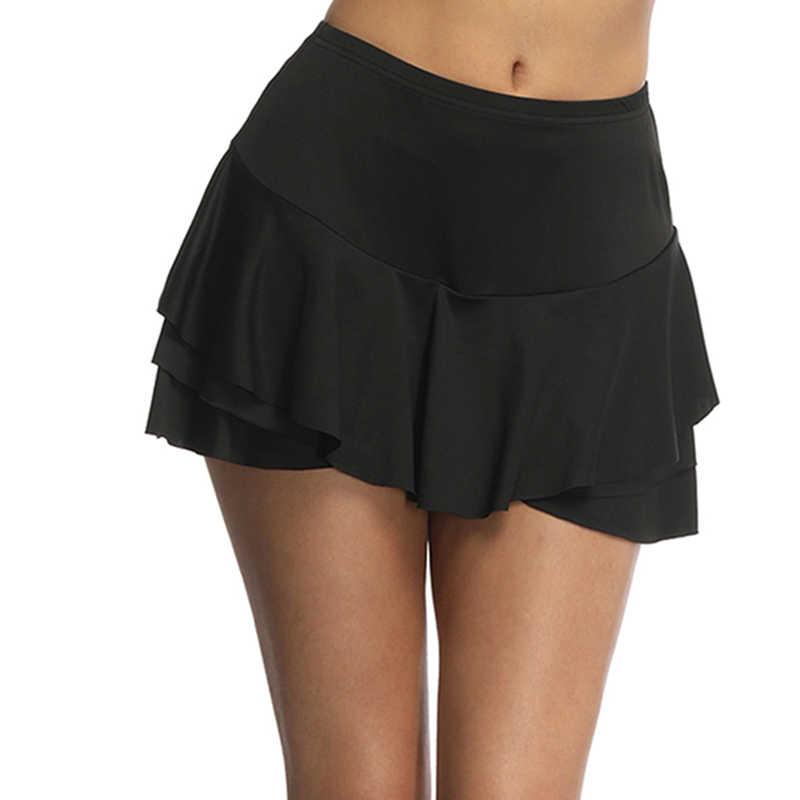 72b00ecef Verano de las mujeres de volantes volante pantalón de talle alto Mini falda  pantalones cortos Mujer sólido faldas ropa