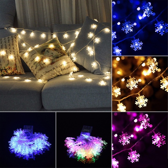 20 LED 2.5M Snowflakes String Light Christmas Wedding Garden Ornament  Mayitr Hanging Outdoor Lights