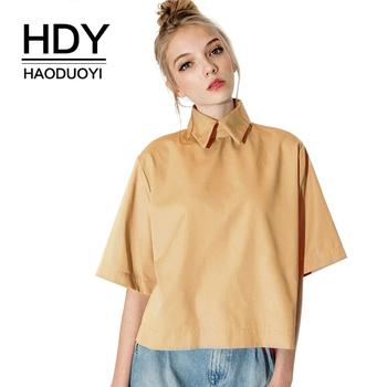 Wholesale HDY Haoduoyi Retro Preppy Style Fashion Tops Turn Down Collar Blouse Slim Women Shirt For And Free Shipping preppy style long sleeves shirt collar bow tie design women s blouse