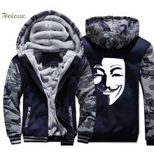 V for Vendetta Hoodies Men Hip Hop Sweatshirts Coats Mens Winter Thick Fleece Warm Printed Camouflage Jackets Cool Sportswear