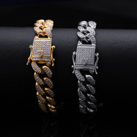 Micro Paved AAA Cubic Zirconia Ice Out Round Miami Cuban Link Chain Bracelets Men Hip Hop Bling CZ Bracelets Male Rapper Jewelry