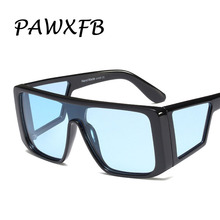 PAWXFB 2019 New Luxury Square Big Frame Sunglasses Women Men Retro Brand Designer Oversized Sun Glasses Female Shades