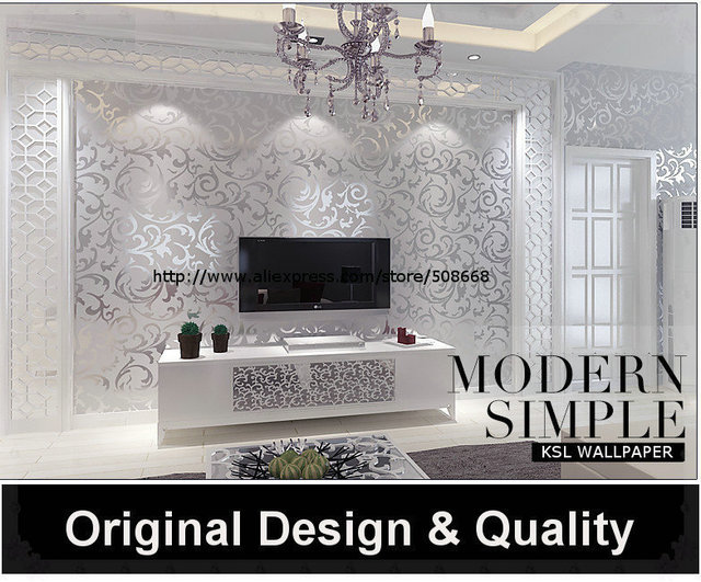 Genuine Victorian Glitter Wallpaper Silver Background Wall Wallpaper Pvc  Roll Wall Papers Home Decor For Living