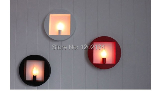 Geometric Form Circle Square Wall Lamps White Red Black