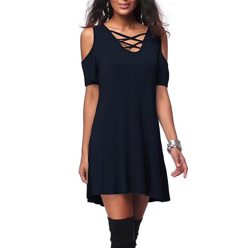 Casual Dress Women Summer Solid Color Beach Dress Sexy Hollow Out V-Neck Lace-Up Low Cut Dress For Women Mini Dress Hot Sale