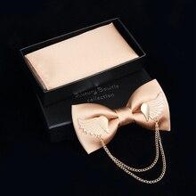 JEMYGINS Оригинальные металлические золотые крылья два слоя шеи галстук-бабочка сплошной галстук-бабочка Мужская Мода Регулируемая бабочка Карманный платок коробка набор