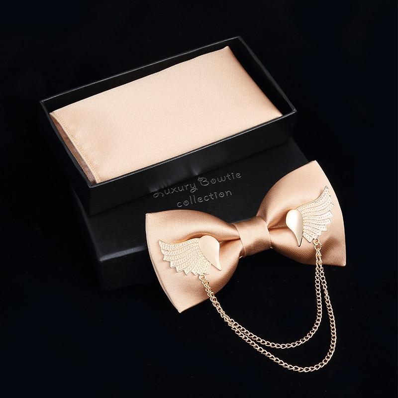 JEMYGINS Original Metal Golden Wings Two Layer Neck Bowtie Solid Bow Tie Men's Fashion Adjustable Bowtie Pocket Square Box Set