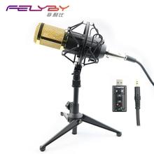 Profesional BM800 Condensador Cardioide Micrófono KTV Pro Audio BM-800 Micrófono de Estudio de Grabación de Voz KTV Karaoke + Choque de Metal de Montaje