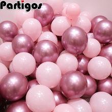 12 unids/lote Rosa globo de látex de cromo de plata de oro cromo oro metálico Boda nupcial ducha Fiesta Temática aire helio decoración globos