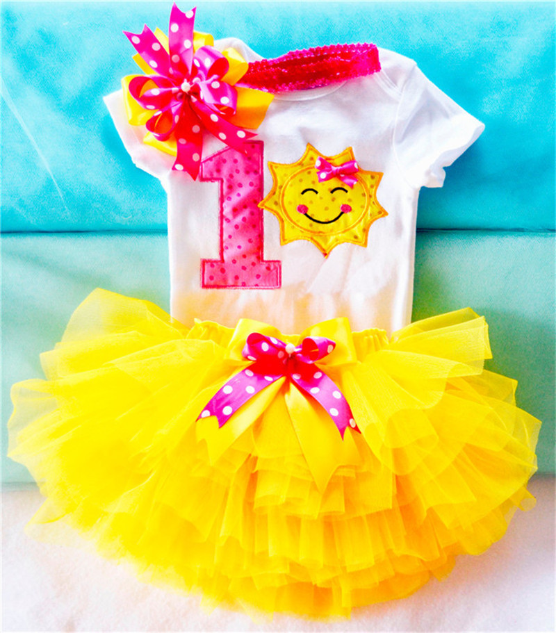 Yellow Sunshine Baby Girl First Birthday Outfit Fashion