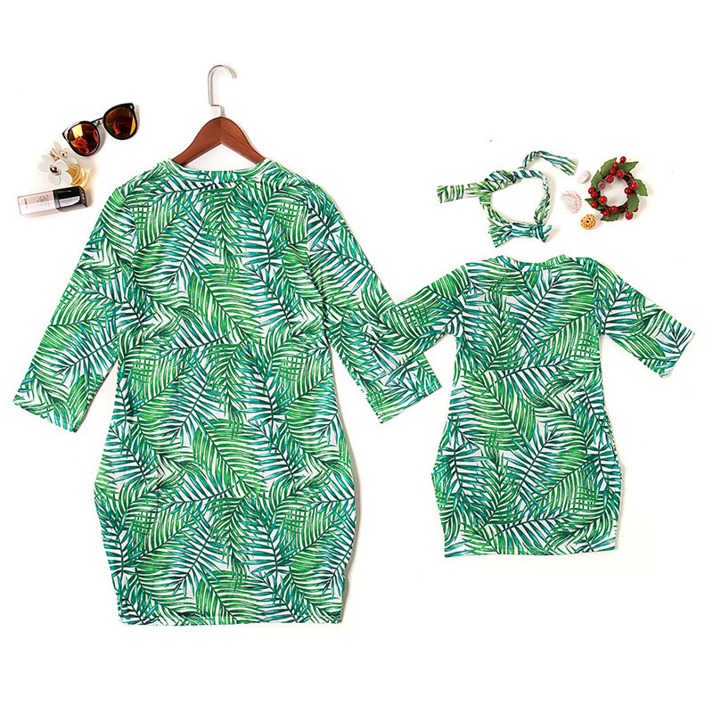 NASHAKAITE-Mother-daughter-dresses-Fashion-Green-Leaf-Printed-Sundress-With-Headband-Mommy-and-me-clothes-Mom