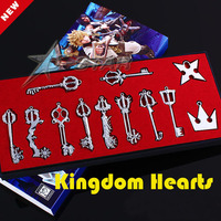 Free shipping Kingdom Hearts Cosplay Necklace Sora Keyblade Keychain Metal Figure Toy Pendants Boxed (12pcs per set)