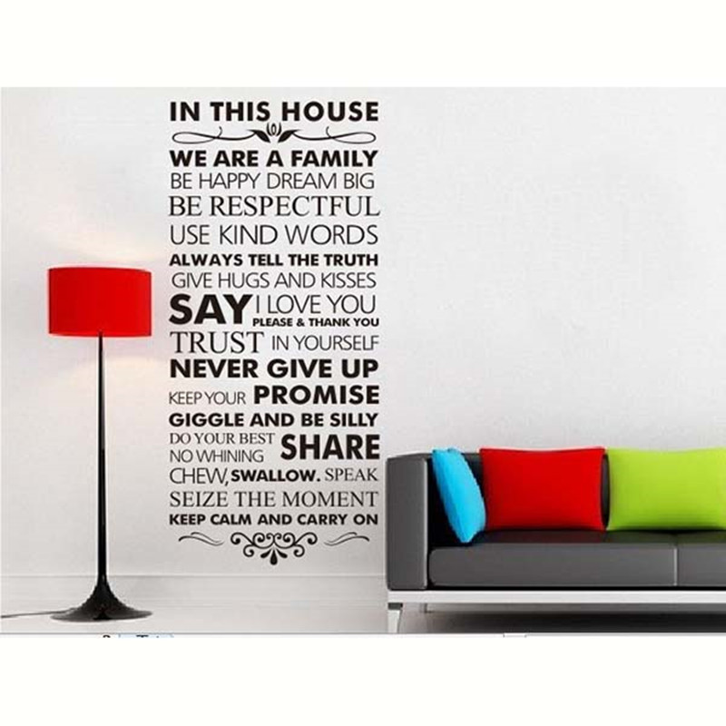 new . art design home decoration vinyl french house rules word wall