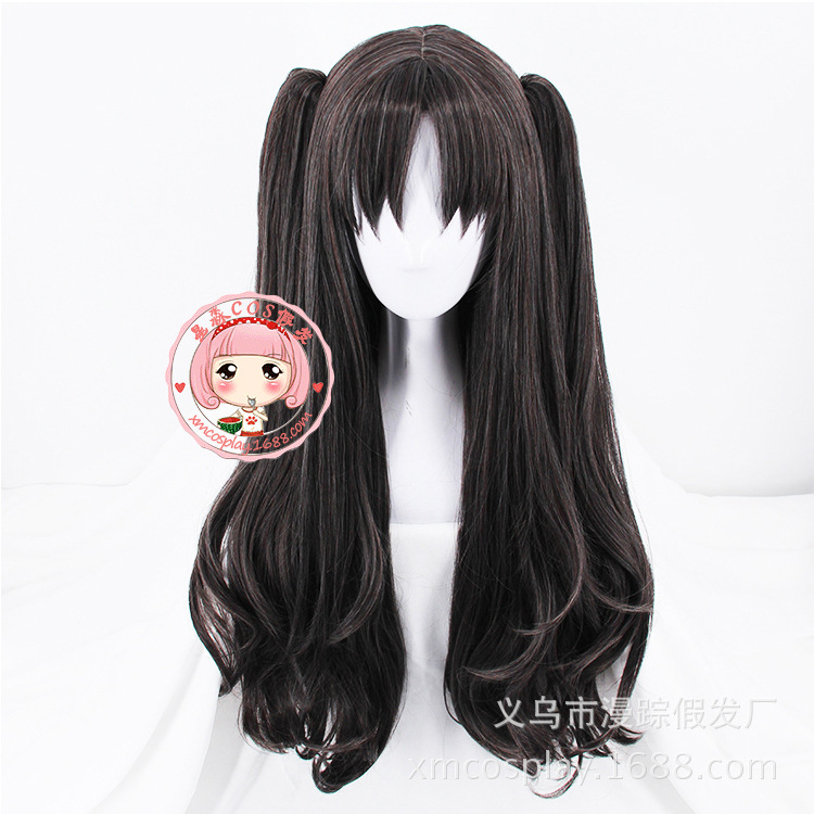 Halloween Japanese Anime FGO Fate Grand Order Tohsaka Rin Cosplay Wig Base Wig + Ponytails Facial Hair