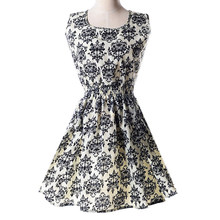 2017 NEW Lady's Sleeveless O-neck Flower Printed Casual Mini Dress--White with blue-and-white porcelain Asian/US Size(China)