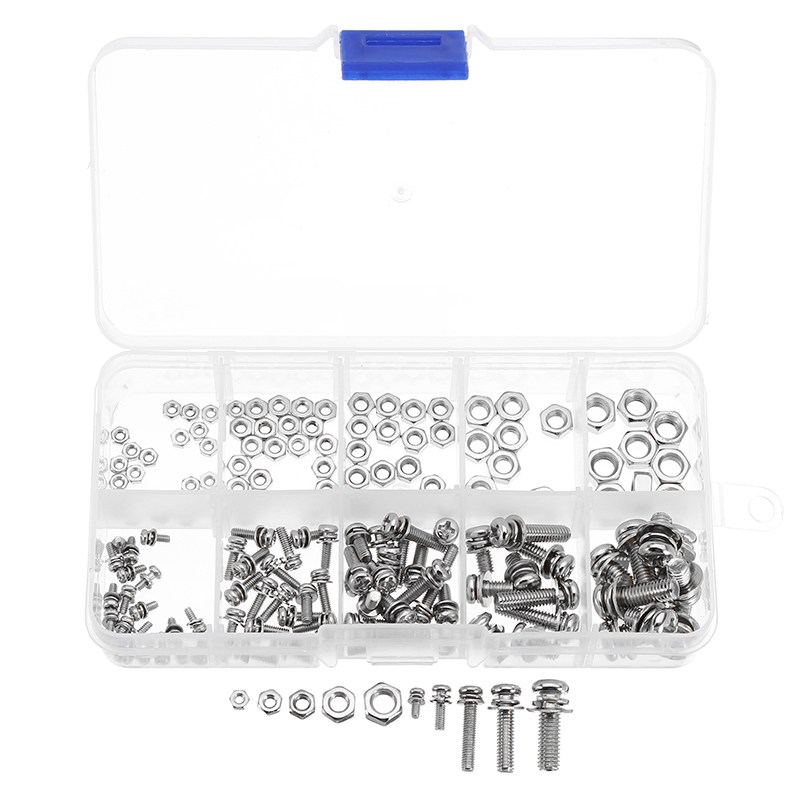 160Pcs/set MXSP1 Stainless Steel Pan Head Screws Nuts Assortment Kit Cross Screws Hex Nut Fastener Hardware M2 M2.5 M3 M4 M5 60pcs box stainless steel m4 screw kits hex socket head cap screws m4 6 8 12 16 20 25mm fastener assortment kit hardware tools